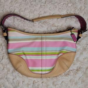 COACH SOHO Hampton Stripe Canvas Leather Hobo Bag